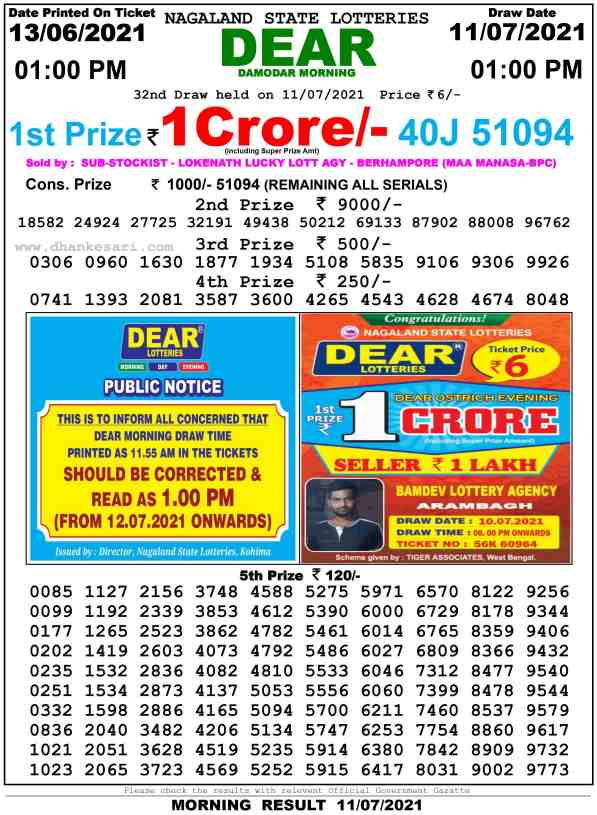 lottery sambad 11 7 2021 lottery result 1pm