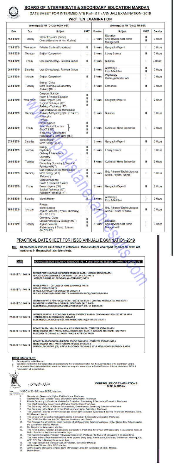 BISE Mardan Board Inter Date Sheet 2019