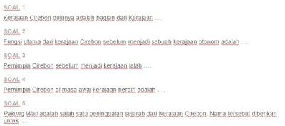 Contoh Soal Kerajaan Cirebon
