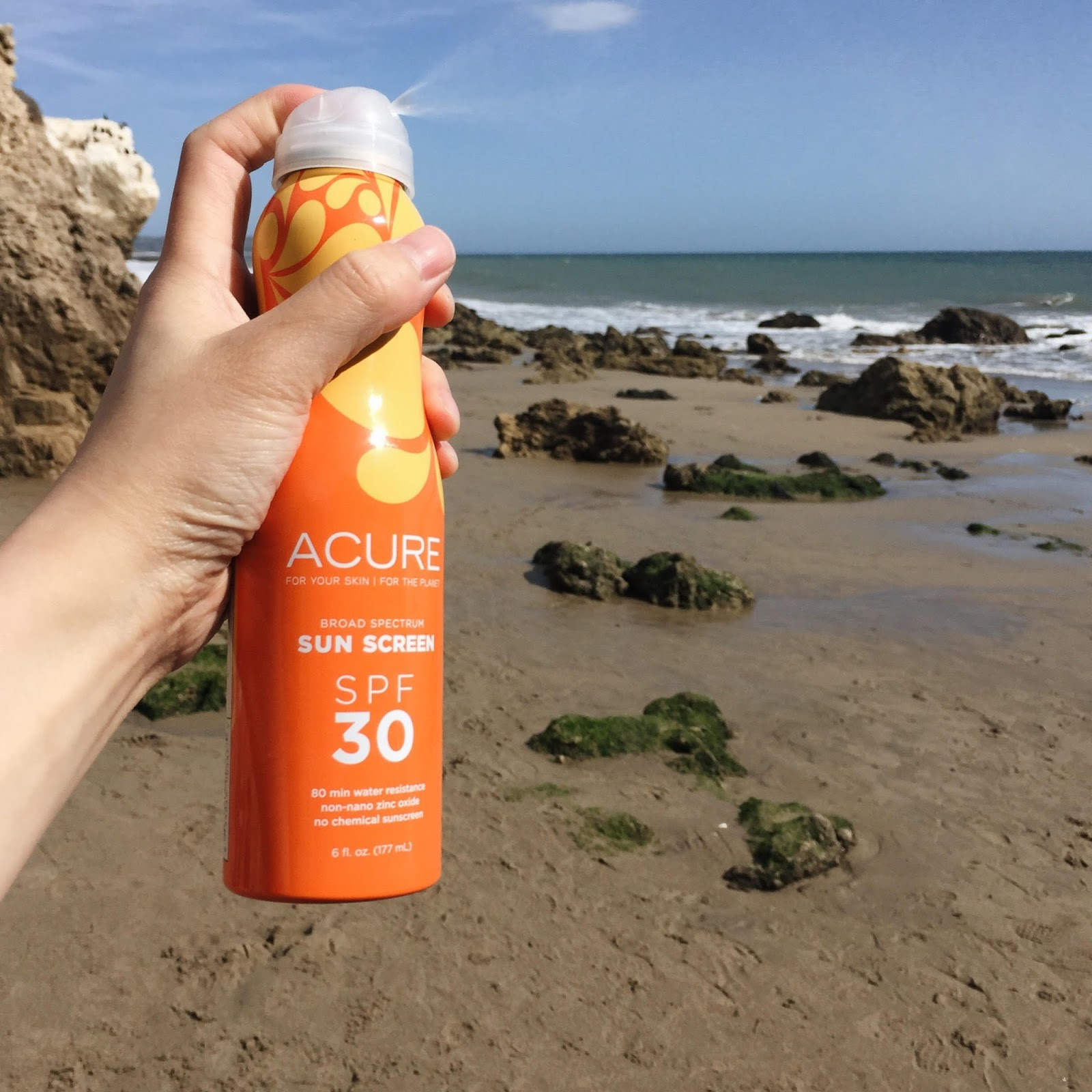 Acure Broad Spectrum SPF 30 Continuous Spray Sunscreen Review natural brand hellolindasau