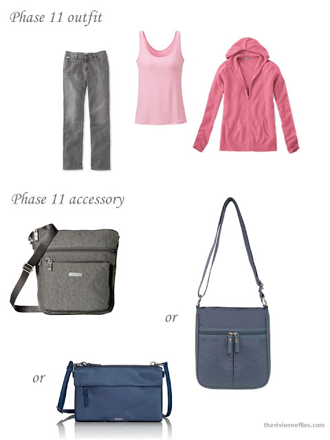 jeans and a sweater, with a choice of nylon cross-body bags
