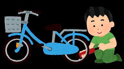 自転車に空気を入れる人のイラスト(携帯ポンプ)