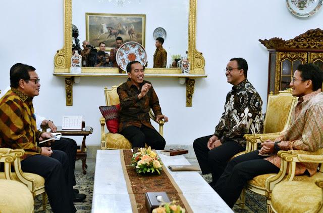 Jokowi Menerima Kunjungan Anies dan Sandi di Istana Negara