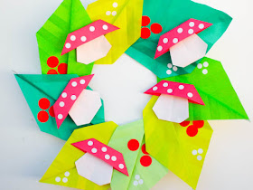 how to fold an origami mushroom wreath for new years- easy origami project for kids