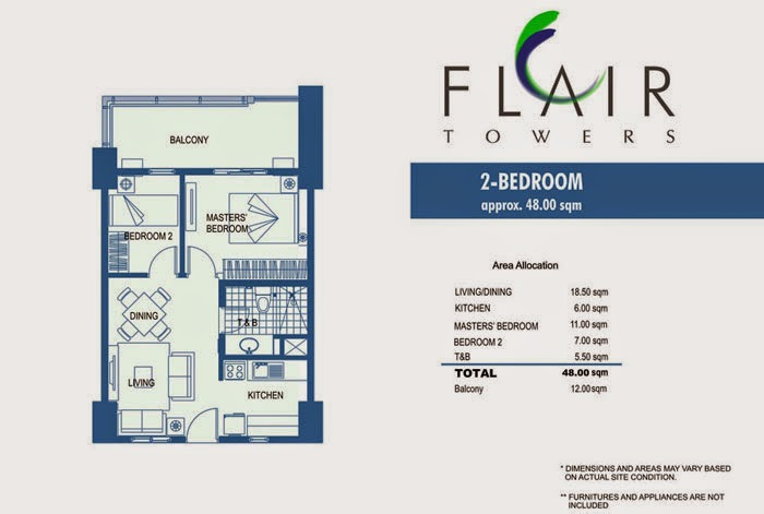 Flair Towers 2 Bedroom Unit 48.00 sqm.