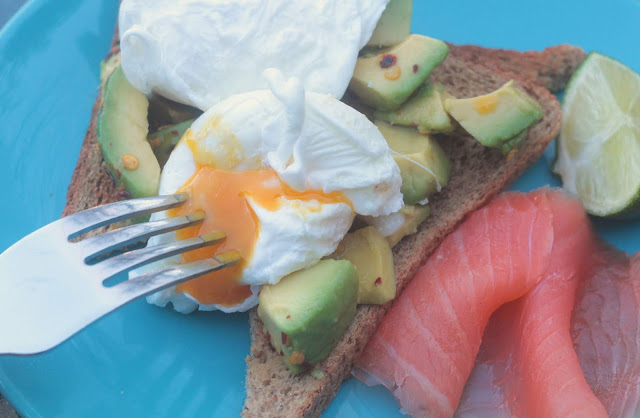 Chili And Lime Avocado With Poached Eggs And Smoked Salmon