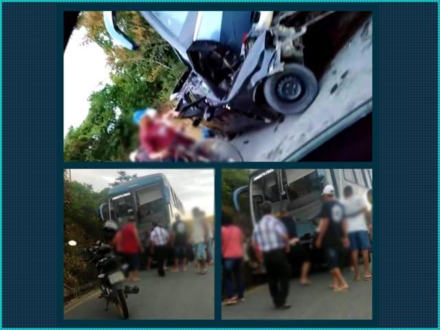 Casal e duas crianças morrem após acidente entre carro e ônibus em Poções