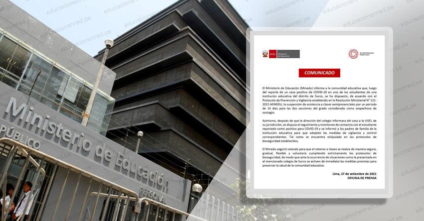MINEDU: Suspenden clases semipresenciales en colegio de Surco por caso de covid-19