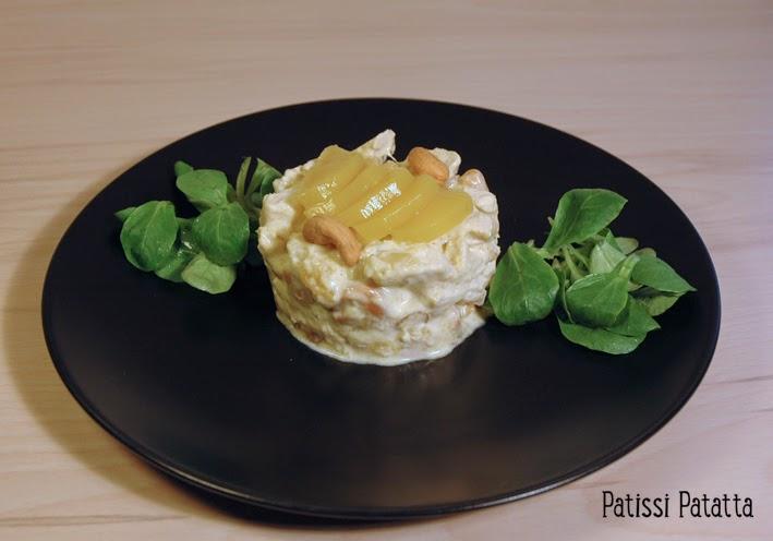 recette de coronation chicken, poulet servi au couronnement de la reine, mangue et poulet à l'anglaise