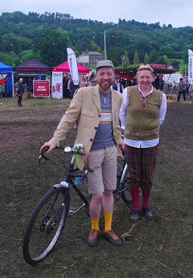 Pat and Christine pose with their 1930s tandem