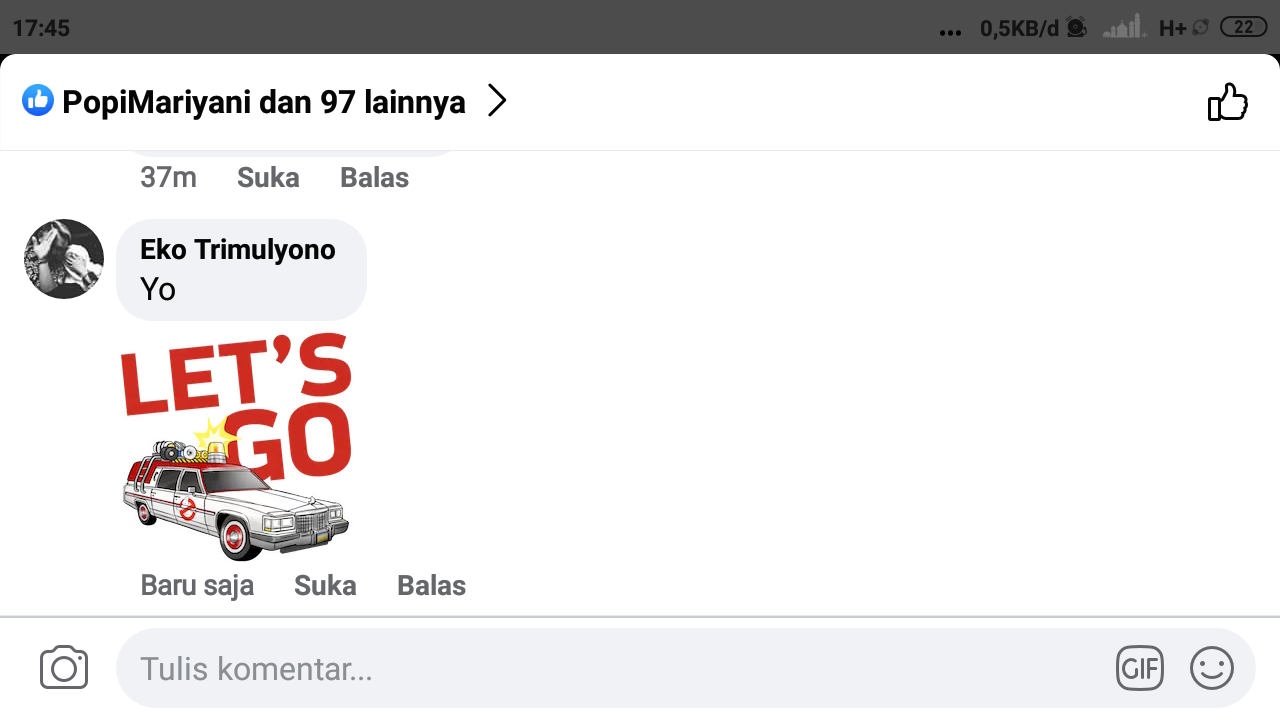 Cara menambahkan komentar dan stiker bersamaan di facebook