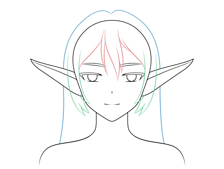 Anime elf gadis kembali menggambar rambut