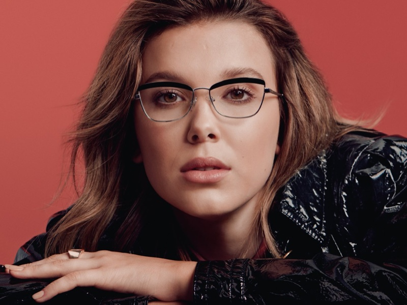 Actress Millie Bobby Brown poses in Vogue Eyewear collaboration