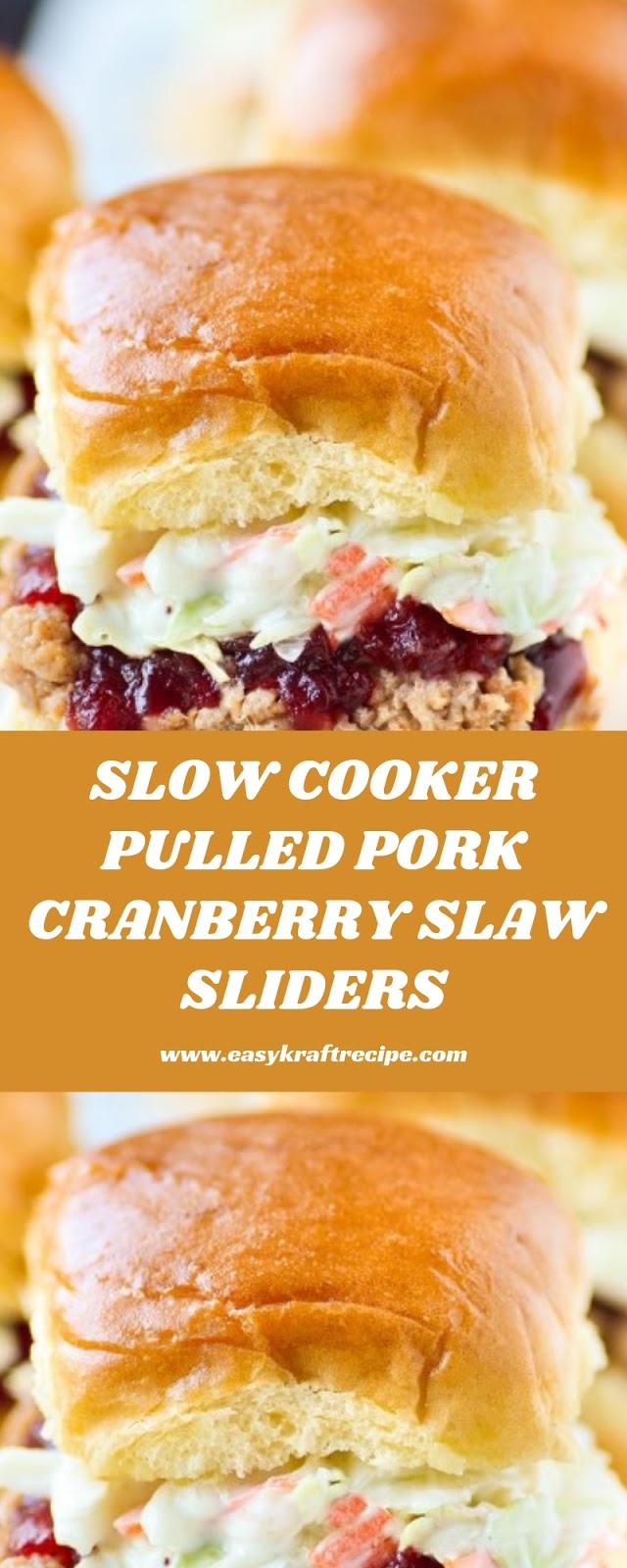 SLOW COOKER PULLED PORK CRANBERRY SLAW SLIDERS