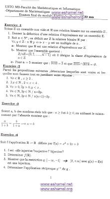 examen semestriel algebre 1 département math-info université alger