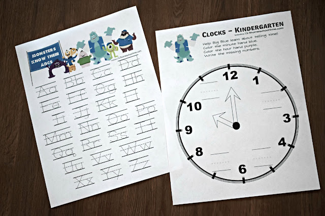 uppercase-lowercase-letter-worksheets-clocks-kindergarten-monsters-university