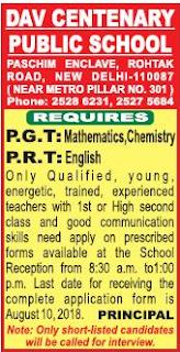DAV Centenary Public School Wanted PGT/TGT/PRT Teachers