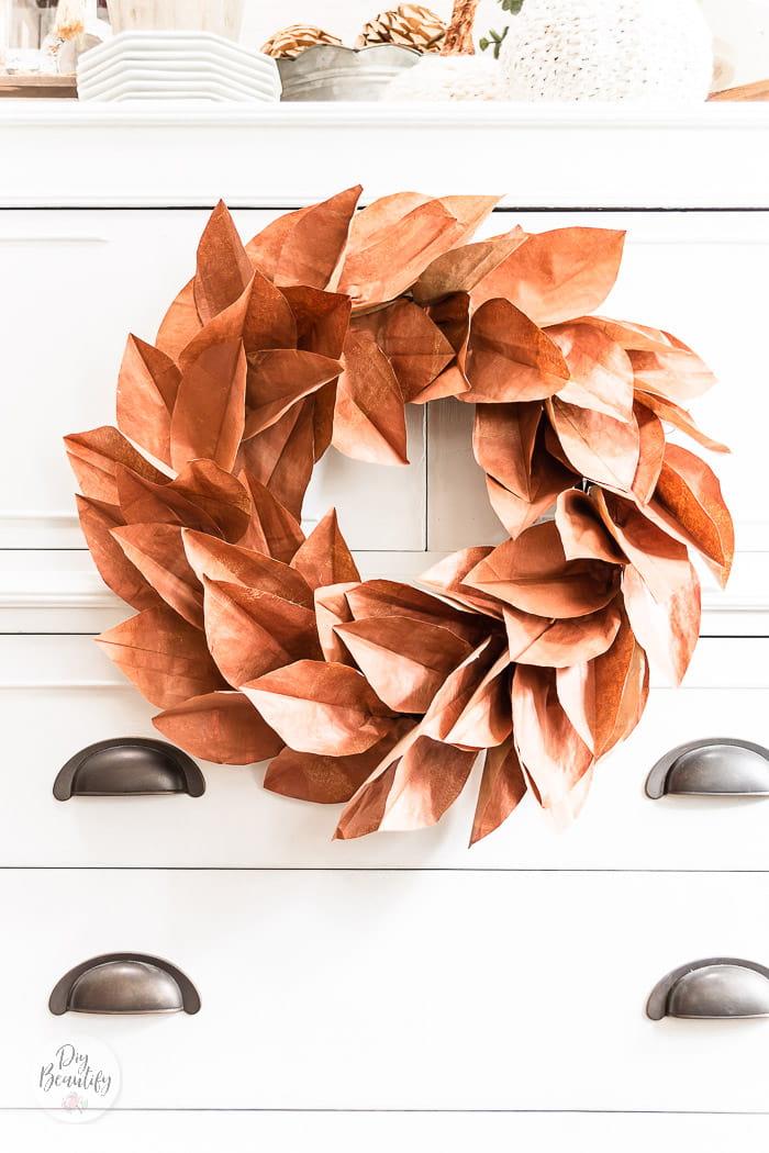 burnished bronze metallic leaf wreath