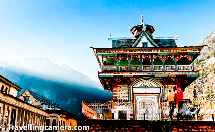 Architecture always attracts Travellingcamera and during these 8 days in MTB Himalaya, I visited some of the most beautiful villages of Himachal which have very different architecture than Himachal I had seen in the past. Above photograph shows a village temple. Just look at the details, colours & usage of local stuff used for building this temple. While walking through the village, we saw lot of houses in this village which are built in a way that locals can be comfortable in chilling weather around these hills. These houses are also made by keeping in mind that locals need to preserve their crops for long time.