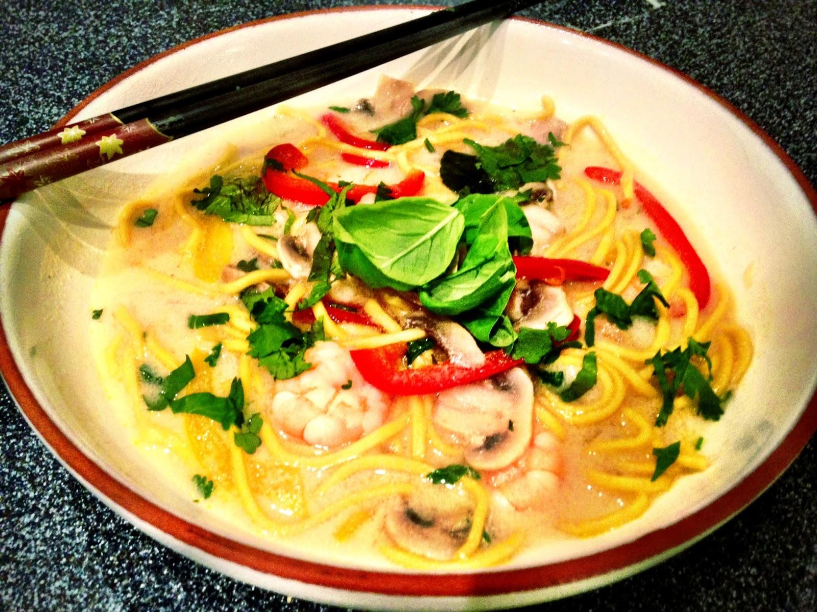 Nourishing bowls Asian prawn broth