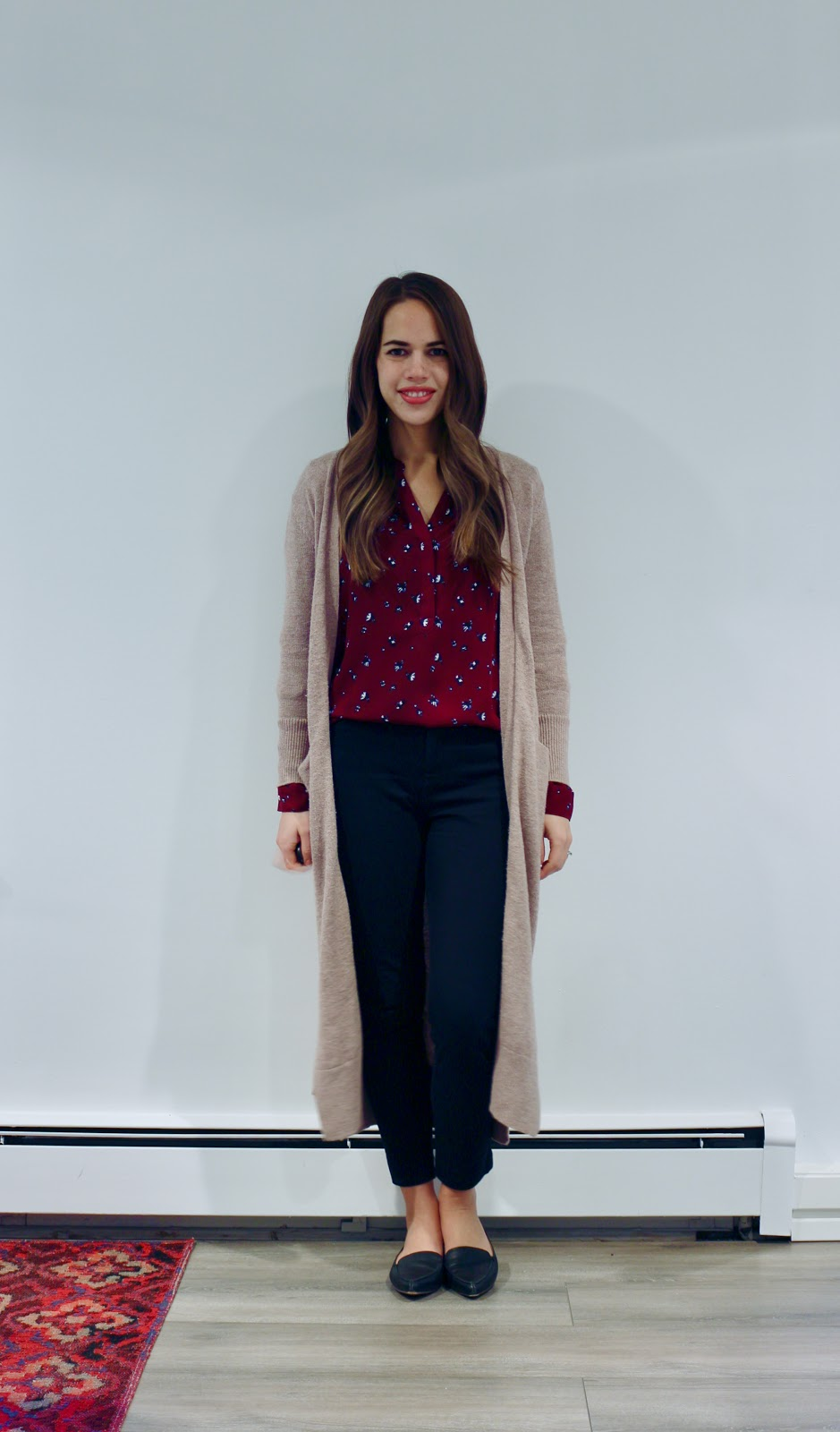 Jules in Flats - Super Long Open Front Sweater (Business Casual Fall Workwear on a Budget)