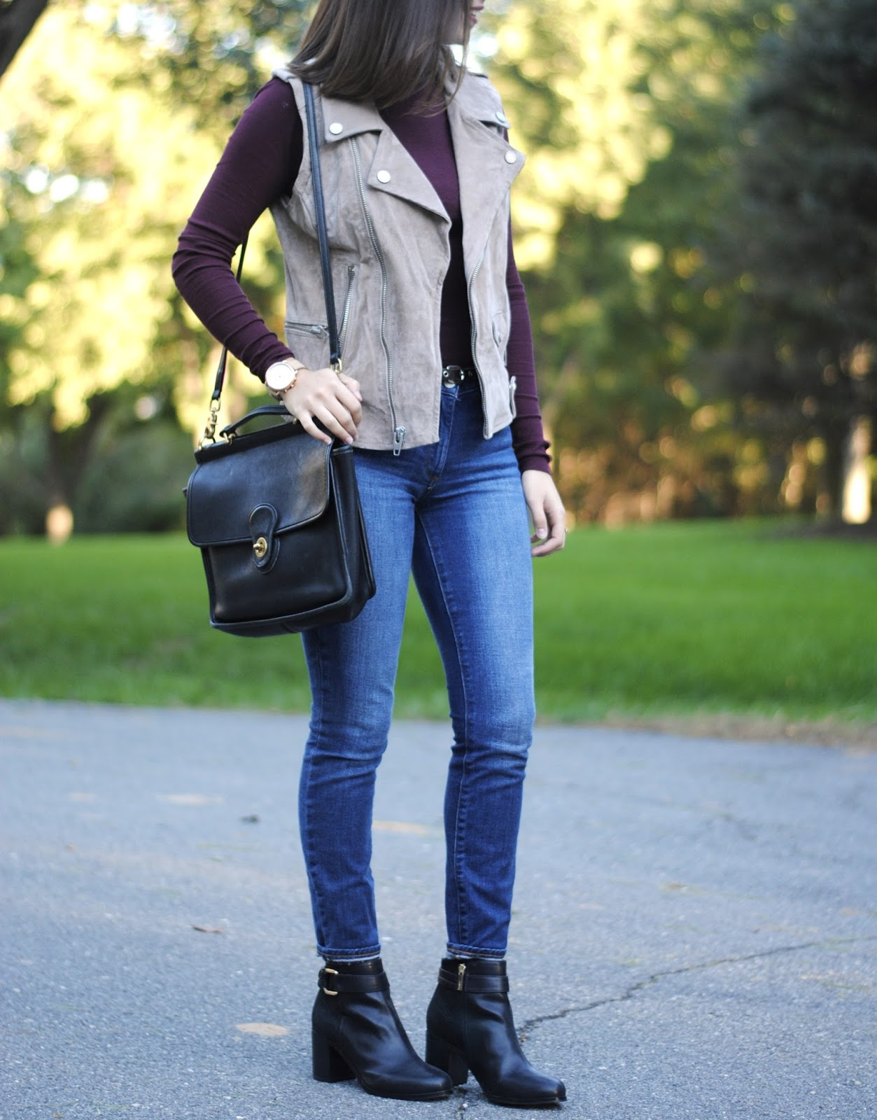 burgundy turtleneck styling with beige vest blank nyc