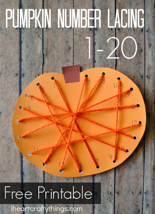 preschool pumpkin lacing activity with printable i heart. Black Bedroom Furniture Sets. Home Design Ideas