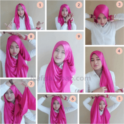 Tutorial Hijab Pashmina Shawl Kain Satin Model Simple untuk Wajah Bulat ala Hijabers Video Youtube