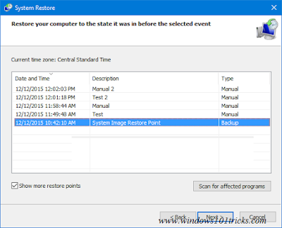Troubleshoot windows 10 Using system Restore 1