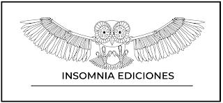 El logotipo de insomnia ediciones es el dibujo de un buho de frente con las alas completamente extendidas hacia los lados. Es un dibujo con linea fina y muy complejo, ya que están dibujadas todas las plumas y detalles.