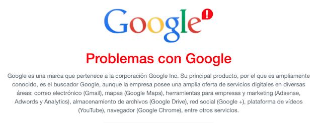 Problemas servicios google