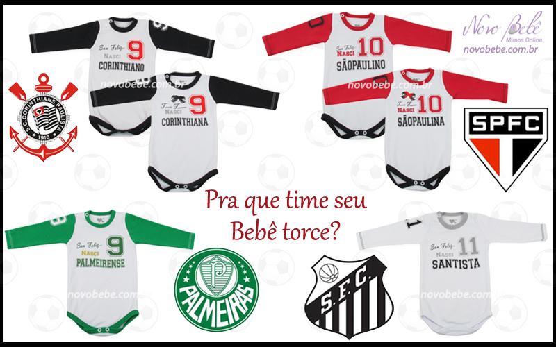 b092cafe35 Já os times Palmeiras e Santos são unissex. Todos os modelos estão  disponíveis na loja virtual Novo Bebê.