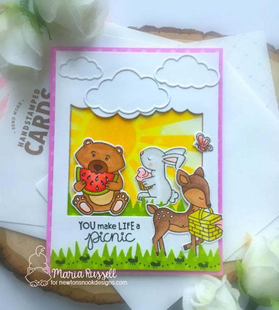 You Make Life a Picnic Card by Maria Russell | Woodland Picnic Stamp Set, Land Borders Die Set and Sunscape Stencil by Newton's Nook Designs #newtonsnook #handmade
