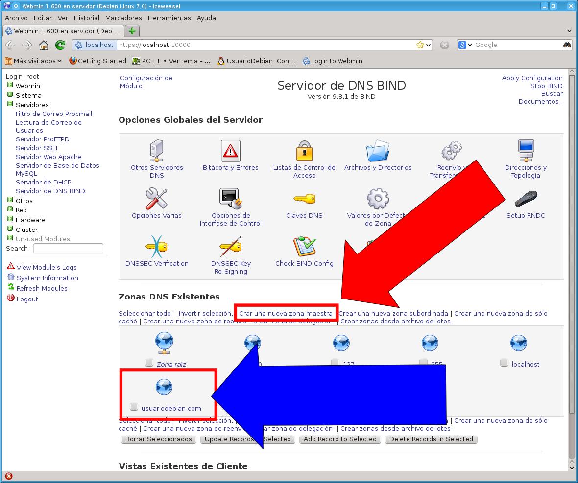 UsuarioDebian: Instalar Y Configurar Un Servidor DNS En Webmin