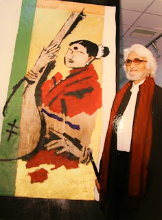 MS Subbulakshmi painted by MF Husain at 'Art Bengaluru 2016' by Navrathan's Art Gallery, Image courtesy Thomas Jose
