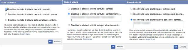 disattivare lo stato di attività di Facebook
