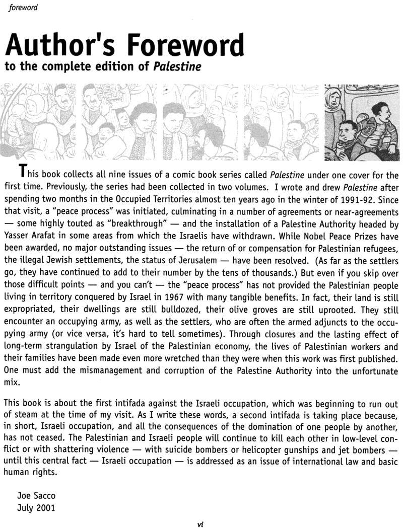 Read foreword of Joe Sacco - Palestine online