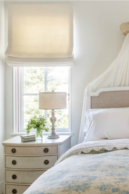 Romantic feminine French Country bedroom with Swedish nightstand - found on Hello Lovely Studio