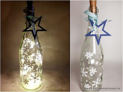 Leuchtflaschen mit Schneeflocken und Sternen als Weihnachtsgeschenk Stampin' Up! www.eris-kreativwerkstatt.blogspot.de