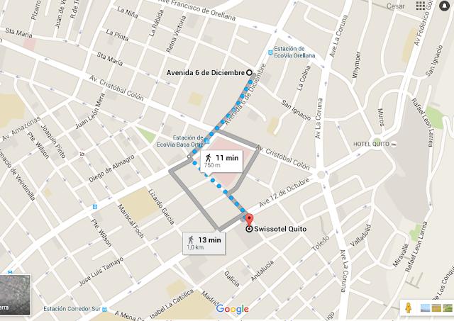 mapa - Hotel en Quito - Hotel Swissotel Quito