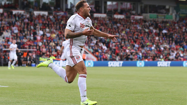 Sheffield United legend Sharp celebrates his first Premier League goal against Bournemouth