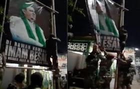Viral Orang Berseragam Loreng Copot Baliho HRS, FPI: Masa Iya TNI Kerjanya Malam-malam