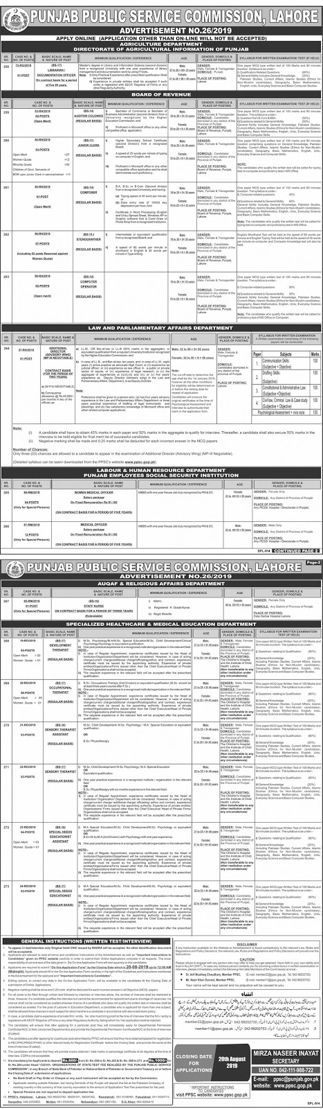 PPSC Jobs Advertisement No 26/2019 August