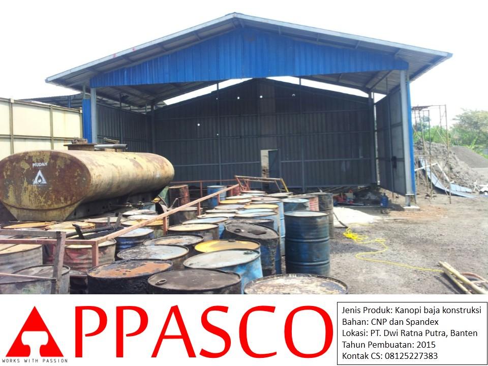 Kanopi Baja Konstruksi di PT Dwi Ratna
