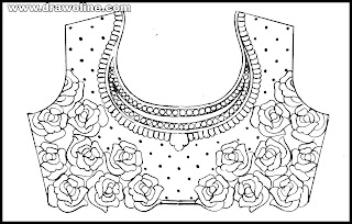 Saree blouse sketches free download, Embroidery blouse design drawings on tracing-paper,aari work designs drawings