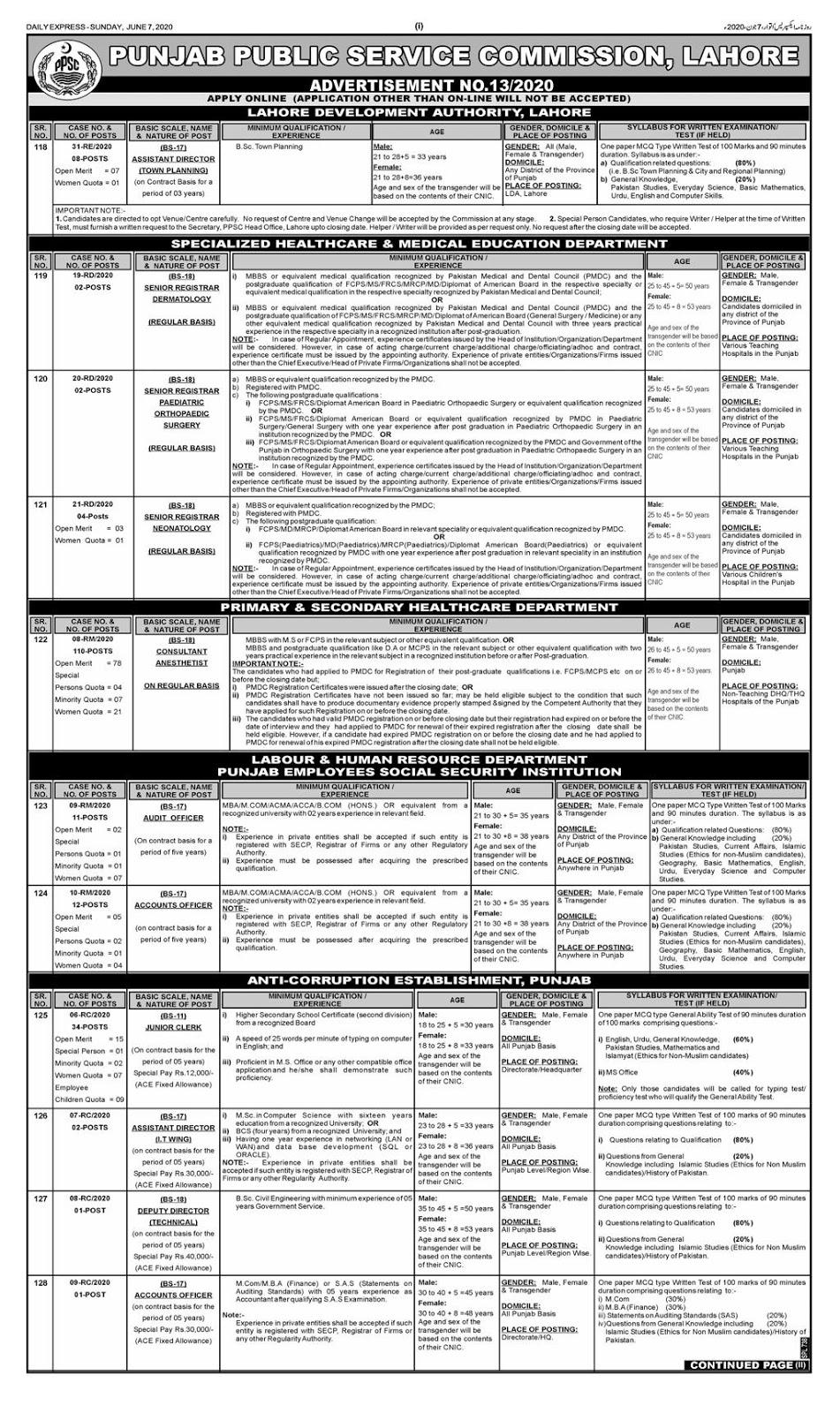 Anti-Corruption Department Punjab Jobs Latest 2020