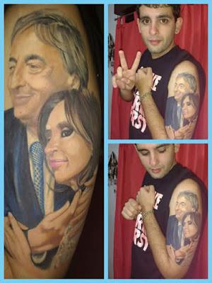 Tatuaje Nestor y Cristina Kirchner
