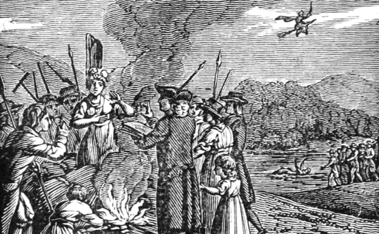Nineteenth-century illustration of colonial-era witch hysteria (including a witch flying on a broomstick) from A History of the United States of America, 1828