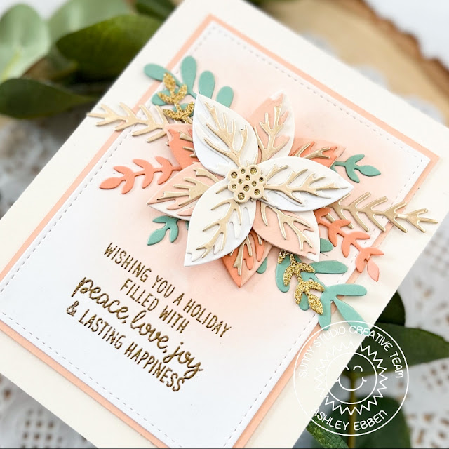 Sunny Studio Stamps: Pristine Poinsettia Winter Greenery Inside Greetings Winter Holiday Card by Ashley Ebben
