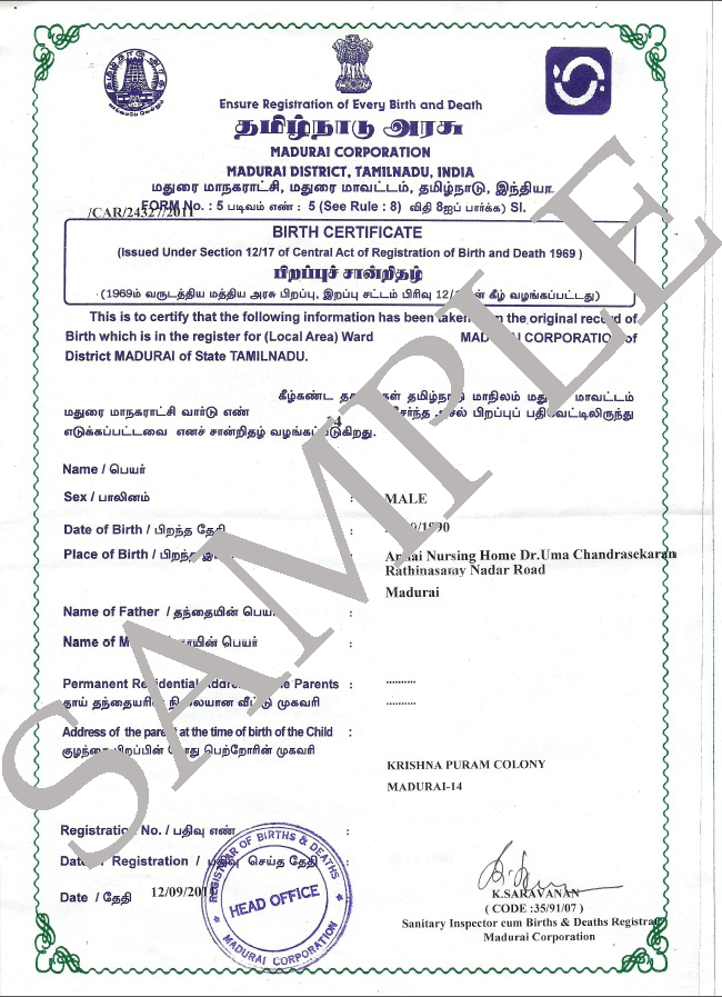 Sample birth certificate from india image collections sample birth certificate from india images certificate design sample birth certificate from india gallery certificate design yadclub Image collections